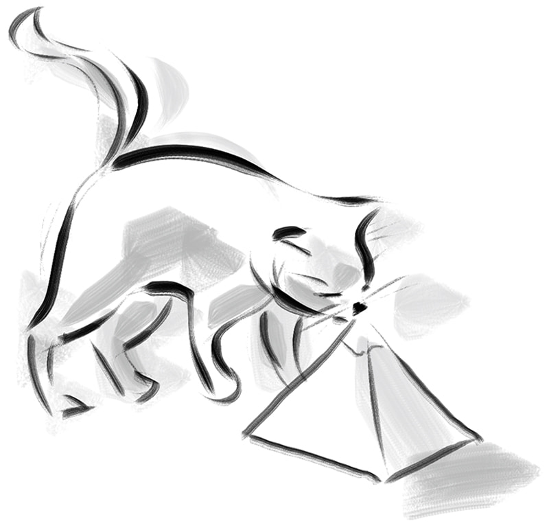 sketch of cat licking a pyramid