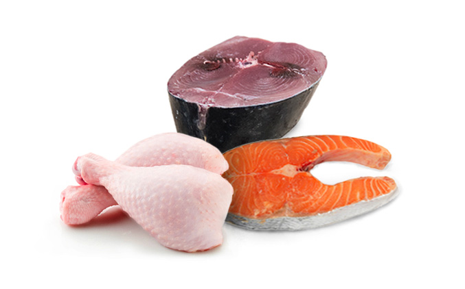 tuna, salmon, and chicken