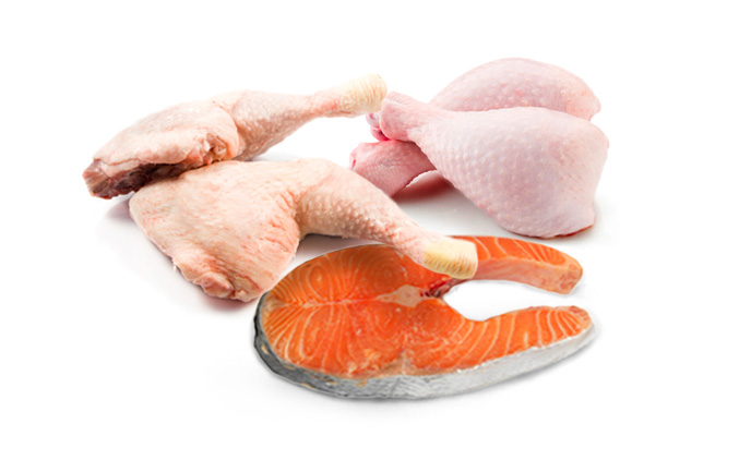 chicken, salmon, and turkey